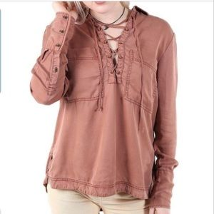 FREE PEOPLE Under Your Spell Lace-Up Top XS